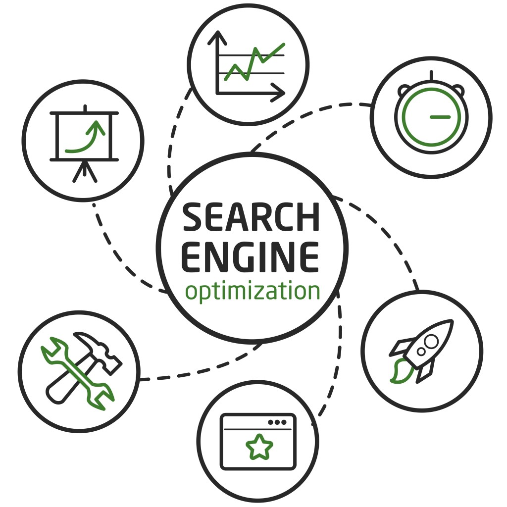 Illustration about search engine optimization, computer technology and big data
