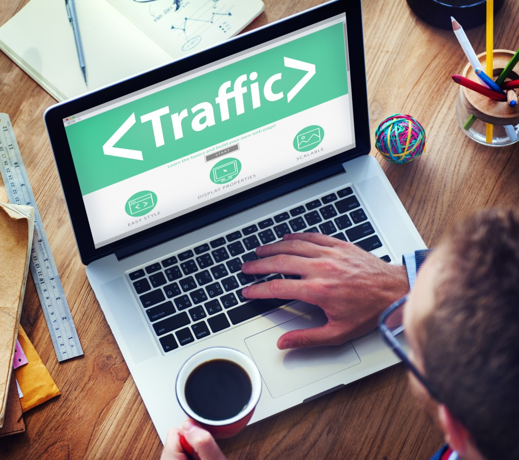 Digital Online Traffic Networking Office Working Concept