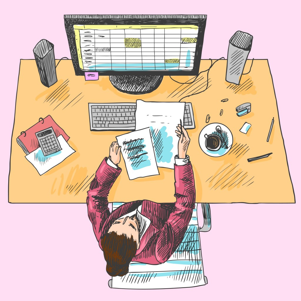 Accountant office employee work place tools with woman sitting on table colored top view sketch  illustration