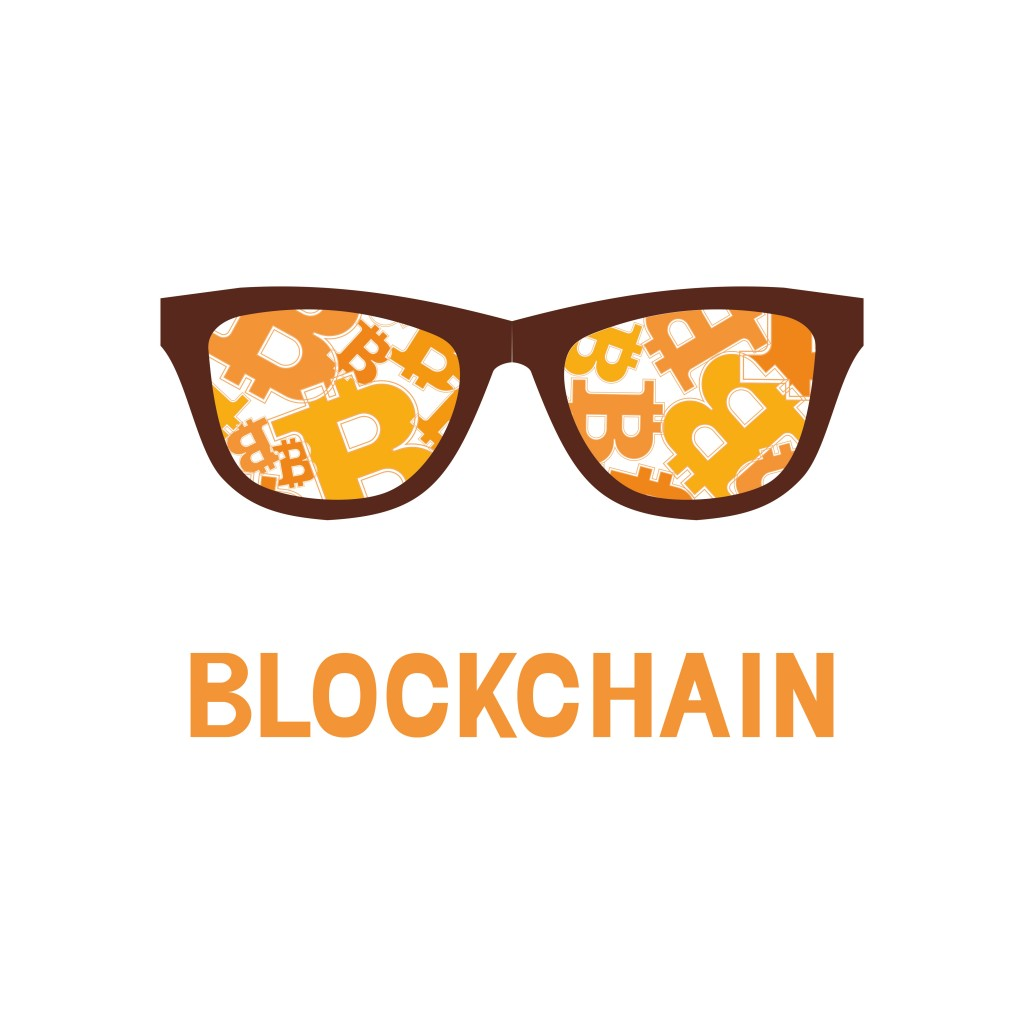 bitcoin symbol and letter blockchain on orange background