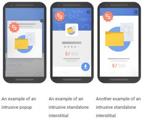 Caption: Examples of intrusive interstitial ads. Source: Google Blog
